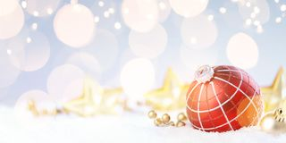 Free Christmas Red Ball With Fir Tree On Snow. Happy New Year`s Card Stock Photos - 163825403