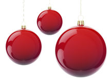 Christmas red balls. Red Christmas balls hanging on white. 3d render with HDR Royalty Free Stock Photography