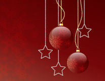 Christmas red balls. On gradient background with stars Royalty Free Stock Images