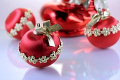 Christmas red balls. Three christmas red balls on white background Stock Photo