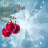Christmas red balls on blue background Stock Image