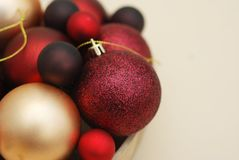 Christmas Red Balls Close Up. Cristmas Decorations, vintage filter. Copy Space Text. Christmas Red Balls Close Up. Cristmas Decorations Royalty Free Stock Images