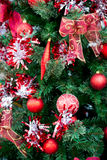 Christmas red balls decorations on Christmas tree stock photo
