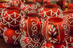 Christmas red balls. In a decorations shop Stock Image