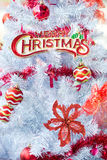 Christmas red balls and decorations on white tree Royalty Free Stock Photography