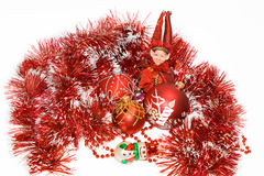 Christmas red balls, elf and snow man. On a white background Royalty Free Stock Image