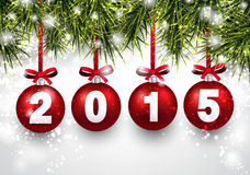 Christmas red balls with 2015. Fir twigs. Vector illustration Royalty Free Stock Image
