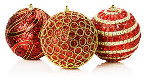 Christmas red balls with golden ornament isolated on the white b Royalty Free Stock Images