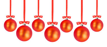 Christmas red balls isolated over white Royalty Free Stock Photography