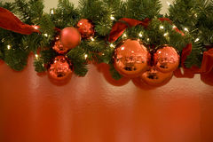 Christmas red balls lights tree background Royalty Free Stock Photo