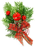 Christmas red balls and ribbon arrangement Stock Photos