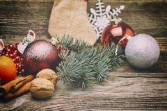 Christmas red balls and ribbons. Royalty Free Stock Image