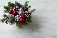 Christmas red balls and silver glitter decorations Stock Photos
