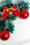 Christmas red balls snd bow. Christmas decoration on white background Stock Images