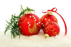 Christmas red balls on the snow. Stock Photography