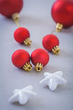 Christmas red balls and white stars Royalty Free Stock Photography