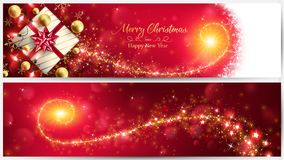 Christmas red banner with golden magic stardust. Through the gift box and included ornaments such as string lights ,balls and bokeh vector illustration