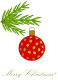 Christmas red bauble. Christmas glass red bauble with star ornaments hanging on the fir branch Stock Photo