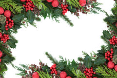 Christmas Red Bauble Border Stock Photo