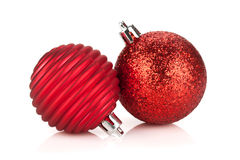 Christmas red bauble decoration Stock Photos