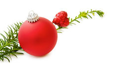 Christmas red bauble and heart. I Love Christmas - with red bauble, sparkling heart and traditional pine tree branch. Isolated on white background Stock Photo