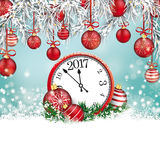 Christmas Red Baubles Frozen Twigs Snow Clock 2017. Christmas background with snow, clock, gift, twigs and red baubles Royalty Free Stock Photos