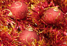 Christmas red baubles Stock Photo