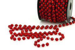 Christmas red beads isolated Royalty Free Stock Photography