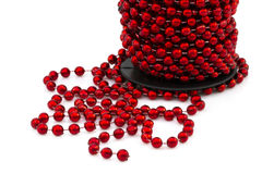 Christmas red beads isolated Stock Photography
