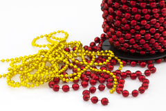 Christmas red beads isolated Stock Photos