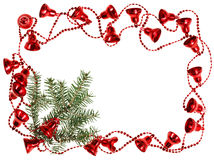 Christmas red bell garland frame with fir Stock Photos
