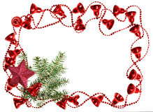 Free Christmas Red Bell Garland Framework With Spruce Royalty Free Stock Photography - 26640277