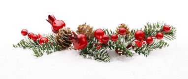 Christmas Red Berry Branch Decoration, Holiday Xmas Berries. Isolated on Winter Snow Stock Photo