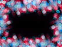 Christmas  red and blue background frame with bokeh lights Stock Photography