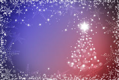 Christmas red and blue background with snowflakes frame and Chri. Stmas tree Stock Photography