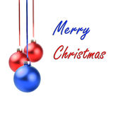Christmas red and blue balls hanging with ribbon bows. On white background Stock Photos