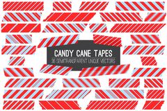 Christmas Red Blue Candy Cane Washi Tape Isolated Vector Strips. Different Size Striped Masking Tape Pieces with Torn Edges. 36 Unique Semitransparent Vectors Stock Photos