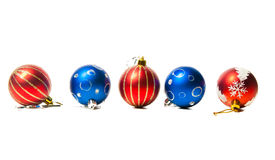 Christmas red and blue toys Royalty Free Stock Image