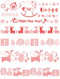 Christmas red borders. With reindeers. trees and little gee-gee Stock Photo