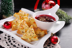 Christmas red borscht with puff pastries Royalty Free Stock Photography