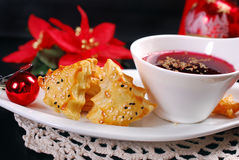 Christmas red borscht with puff pastries Stock Photos