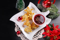 Christmas red borscht with puff pastries Royalty Free Stock Photo