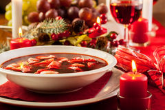 Christmas Red Borscht With Meat Filled Dumplings Royalty Free Stock Images