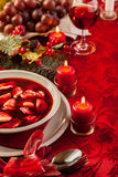 Christmas Red Borscht With Meat Filled Dumplings Royalty Free Stock Photos