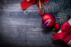Christmas red bow ball fir branch giftbox holidays Royalty Free Stock Photos