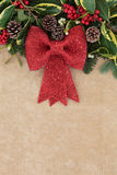 Christmas Red Bow Decoration Stock Photo