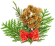 Christmas red bow and fir cones arrangement Stock Photos