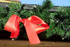 Christmas red bow on green New Year tree branch Royalty Free Stock Photo