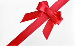 Christmas red bow and ribbon Royalty Free Stock Images