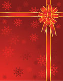 Christmas red bow with snowflakes Royalty Free Stock Image